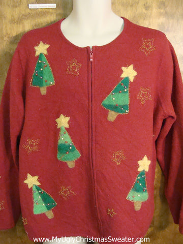 Red Funny Ugliest Christmas Sweater with Tippy Trees