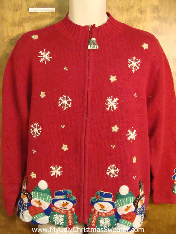 Red Colorful Ugliest Christmas Sweater with Snowmen