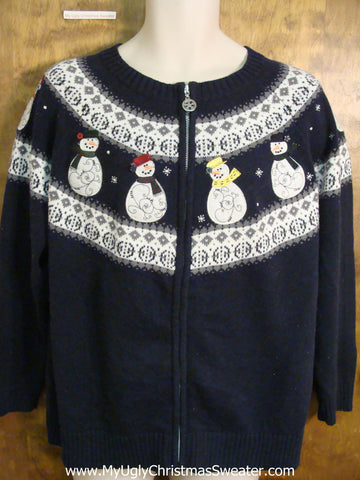 Two Sided Snowman Themed Ugliest Christmas Sweater