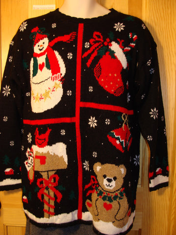 Tacky Ugly Christmas Sweater 80s Bold Classic with Bear, Snowman, and 2sided Snowflakes (f425)