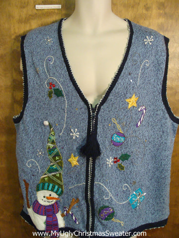 Blue Ugliest Christmas Sweater Vest with Tassle Zip Pull