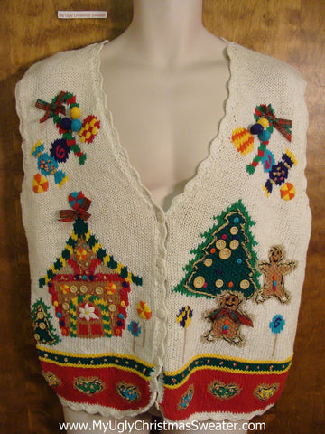 Best 80s Gingerbread Themed Ugliest Christmas Sweater Vest