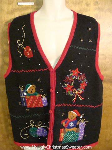 Bears and Gifts Ugliest Christmas Sweater Vest