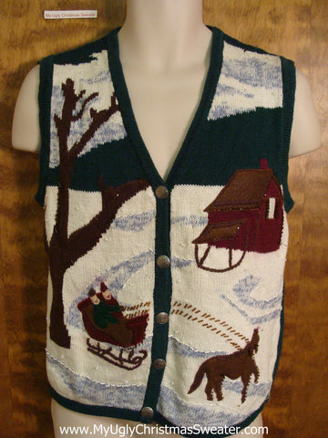 Horse and Sleigh Ugliest Christmas Sweater Vest