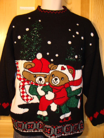 Tacky Ugly Christmas Sweater 80s Acrylic with Two Snuggling Skating Santa Bears in a Winter Wonderland (f426)