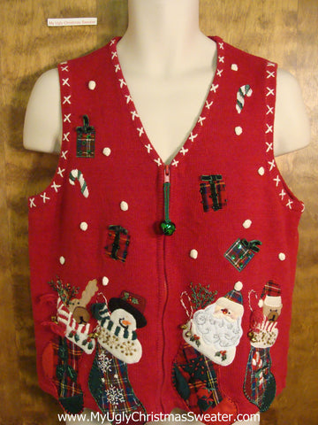 Four Filled Stockings Ugliest Christmas Sweater Vest