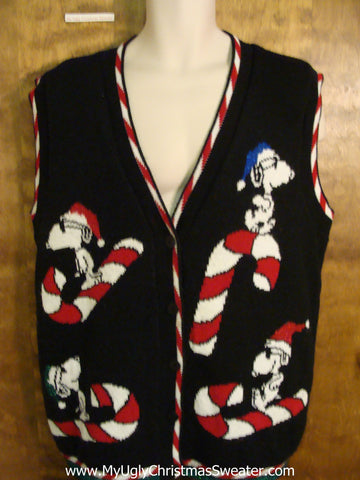 BEST Snoopy with Candycanes Ugliest Christmas Sweater Vest