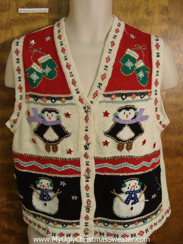 Cute Penguins and Snowmen Ugliest Christmas Sweater Vest