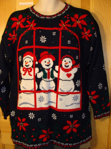 Tacky Ugly Christmas Sweater 80s Acrlic 2sided Decoration with Snowflakes and Three Happy Carrot Nosed Snowmen (f427)