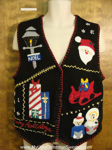 HAPPY HOLIDAYS and NOEL Ugliest Christmas Sweater Vest