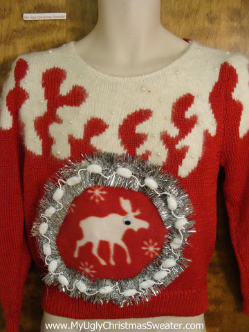 BEST 80s 3d Reindeer Ugliest Christmas Sweater