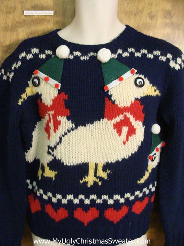 Funny 80s 2sided Geese Ugliest Christmas Sweater
