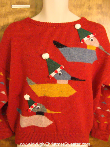 BEST 80s Ducks with Santa Hats 2sided Ugliest Christmas Sweater