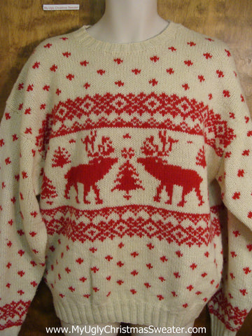 Classic 2sided Reindeer Moose Red and Ivory Holiday Sweater