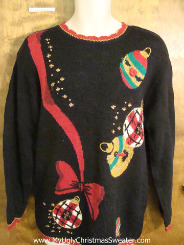 Long Style 80s Acrylic Ugliest Christmas Sweater with Ornaments