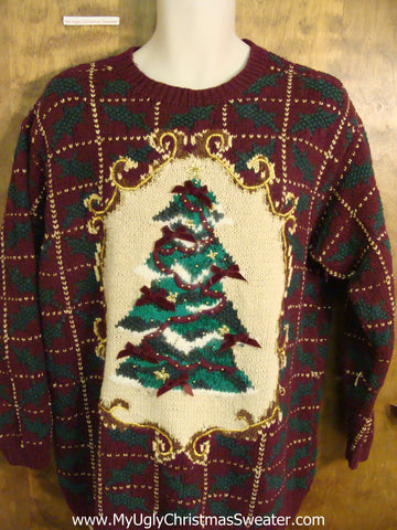 Eye Numbing 80s 2sided Ugliest Christmas Sweater with Tree