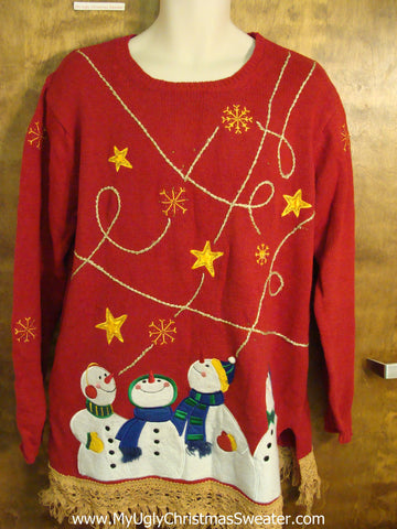 Four Star Struck Snowmen Ugliest Christmas Sweater with Fringe