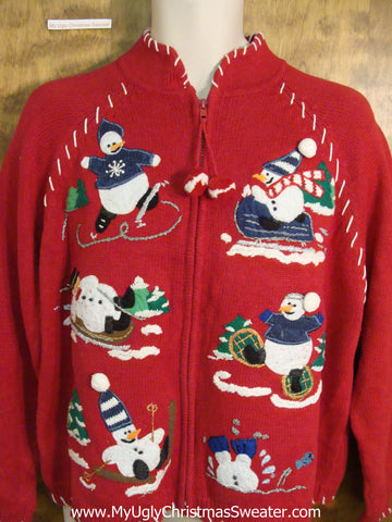 Winter Sports Snowmen 2sided Ugliest Christmas Sweater