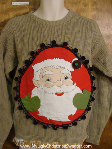 Mens Funny Ugliest Christmas Sweater with Santa
