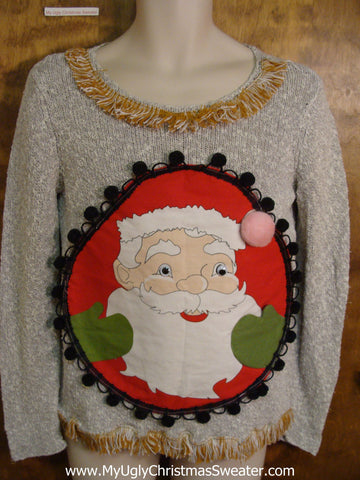 Funny Smiling Santa with Pompoms Ugliest Christmas Sweater
