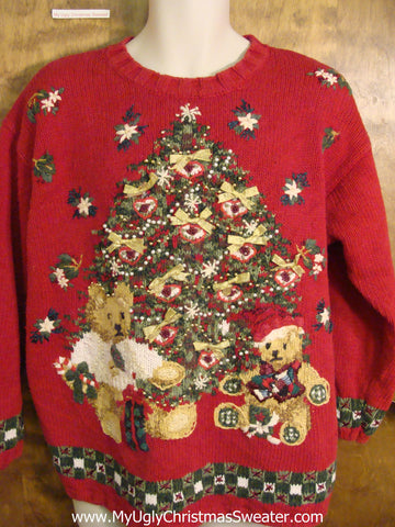 Red 80s Tree with Bears Ugliest Christmas Sweater
