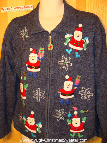 Tacky Ugly Christmas Sweater with Leaping Santas and a 3d Present Zipper Pull   (f42)