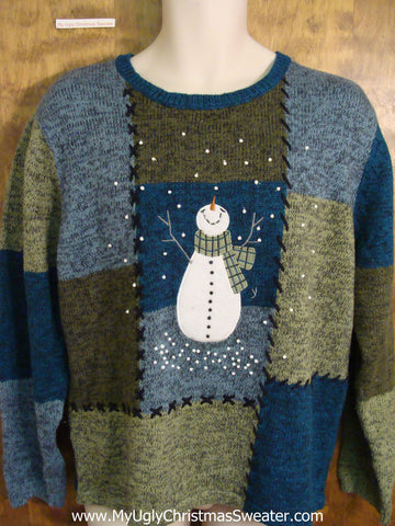 Funny Patchwork Christmas Sweater with Snowman