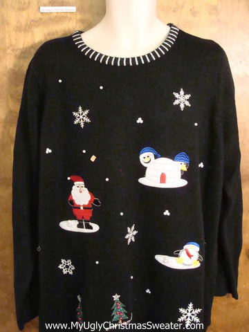 Snowman in an Igloo Funny Christmas Sweater