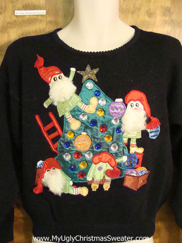 Funny 80s Crazy Elves Christmas Sweater