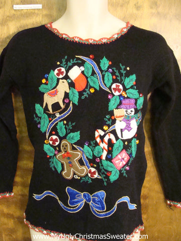 Horrilbe 80s Tacky Wreath Funny Christmas Sweater