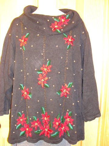 Tacky Ugly Christmas Sweater 80s Style with Poinsettias (f430)