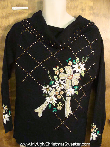 Horrible Black 80s Floral Funny Christmas Sweater