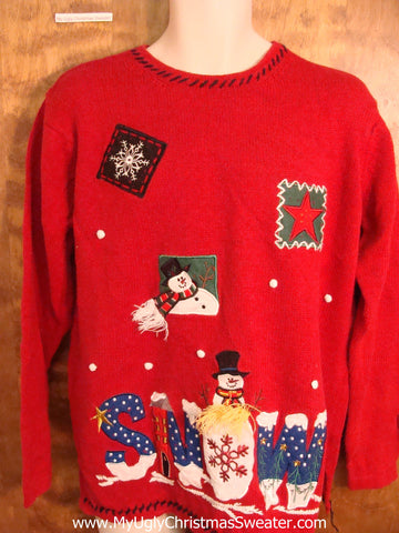 Red SNOW Themed Funny Christmas Sweater