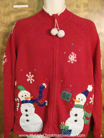 Funny Christmas Sweater with Dangling Pompom Zip Pull