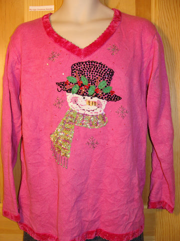 Tacky Ugly Christmas Sweater Pink with Bling Snowman (f431)