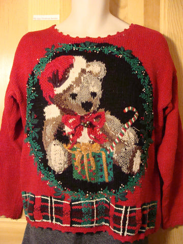 Tacky Ugly Christmas Sweater 80s Giant Bear (f432)