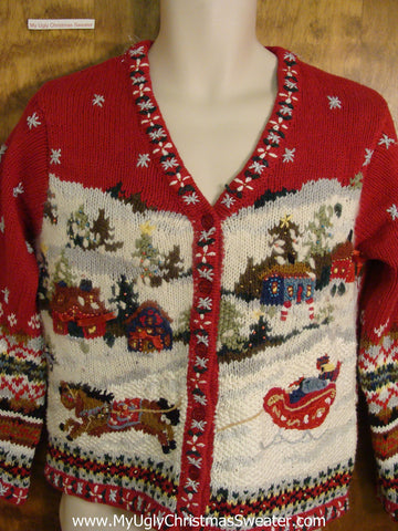 Red 2sided Horse and Sleigh Funny Christmas Sweater