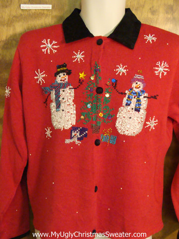 Funny Red 80s Christmas Sweater with Collar