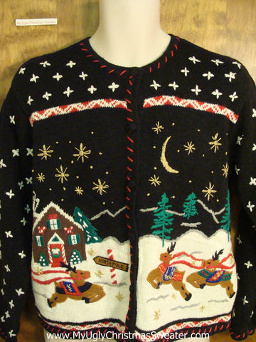 Flying Reindeer 2sided Funny Christmas Sweater
