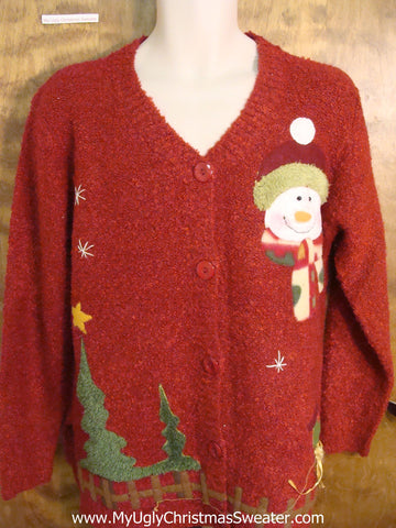 Funny Red Christmas Sweater with Santa and Snowman