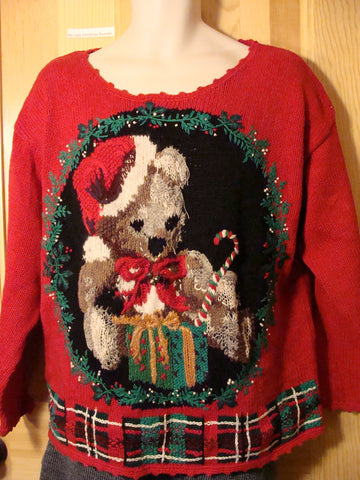 Tacky Ugly Christmas Sweater 80s Giant Bear (f433)