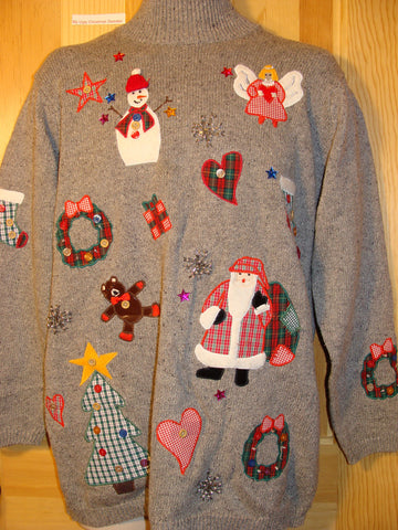 Tacky Ugly Christmas Sweater 80s Crafty 2sided Gem (f434)