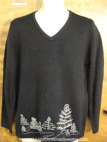Cheap Black Tree Themed Funny Christmas Sweater