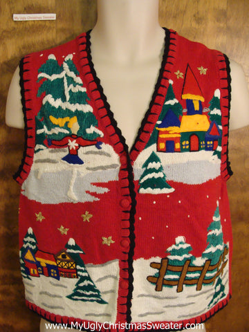 Ice Skate Winter Themed Funny Christmas Sweater Vest
