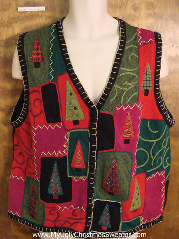 Fancy Tree Patchwork Funny Christmas Sweater Vest