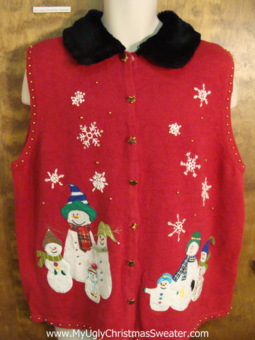Big Size Red Funny Christmas Sweater Vest with Furry Collar