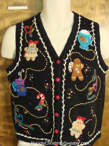 Gingerbread Men Funny Christmas Sweater Vest