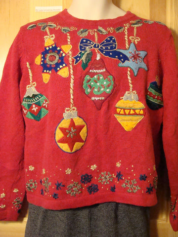 Tacky Ugly Christmas Sweater with Bold Festive Huge Ornaments (f435)