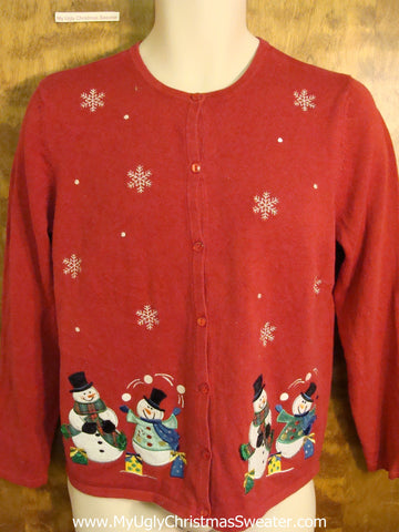Snowmen Juggling Snowballs Funny Christmas Sweater