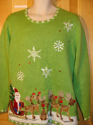 Tacky Ugly Christmas Sweater with Santa and Reindeer (f436)